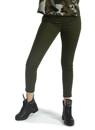 Collezione Haki Arka Cepli Jegging Kadın Pantolon Haki